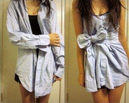 Do it yourself Bow Dress. :): Ideas, Fashion, Style, Dr., Clothing, Dresses Shirts, Men Shirts, Buttons, Diy