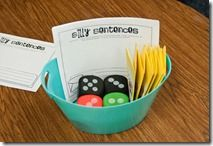 Roll a sentence and silly sentence activities to target descriptive words (adjectives).