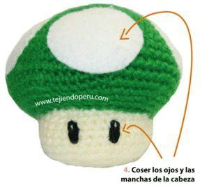 Mario mushrooms amigurumi - hongos en crochet