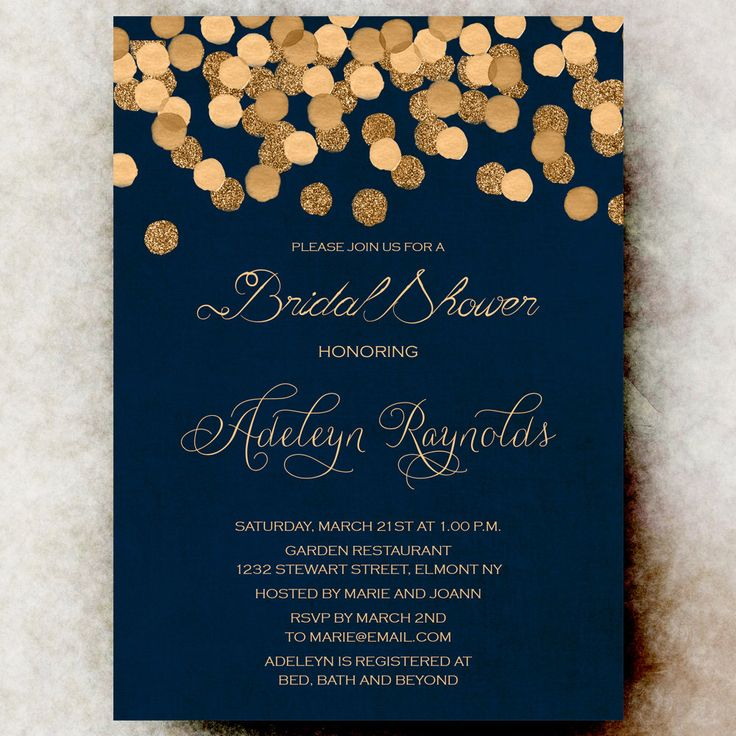 Gold Glittering Confetti bridal shower Invitation printable -  Navy Blue Bridal shower Invitation,  wedding shower printable by RavishingInvitations on Etsy https://www.etsy.com/listing/239288681/gold-glittering-confetti-bridal-shower