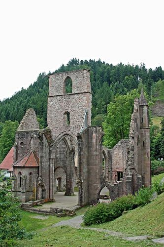 """First heard of this gorgeous ruin situated over a beautiful waterfall in the Black Forest, Germany, from Mark Twain's """"A Tramp Abroad."""" Kloster Allerheiligen, Black Forest (aka All Saints Abbey) by Gaz n Nic, via Flickr"""