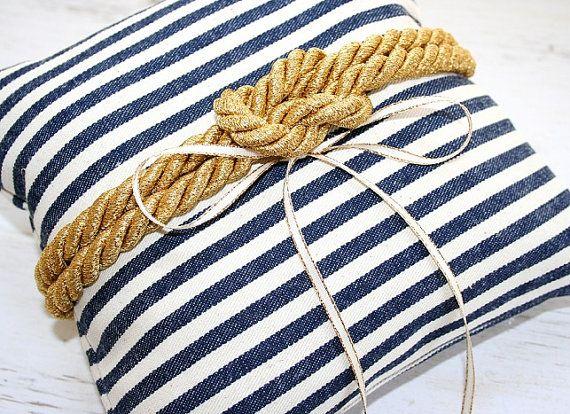 Hochzeit am Strand Ring-Kissen nautische Knoten von LuckyYouLuckyMe
