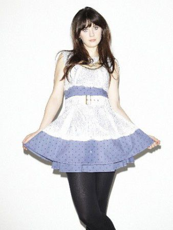 Zooey Deschanel in a Blue and White Dress - double skirted bottom