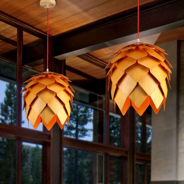 3 STKS Moderne Art EIKEN Houten Dennenappel Hanglampen Opknoping Hout PH Artichoke Lampen Eetkamer Restaurant Armaturen Armatuur