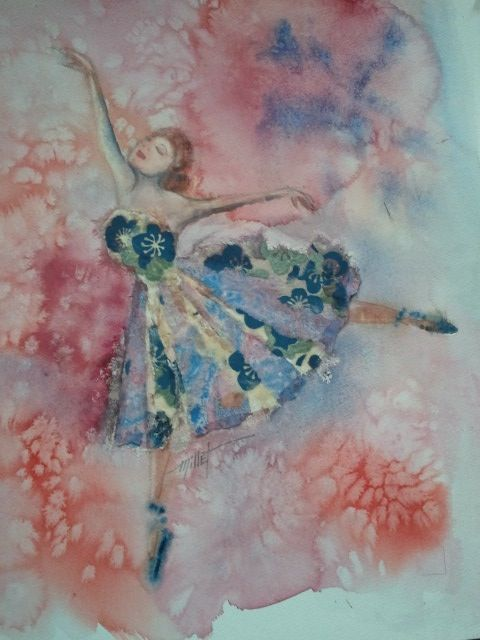 Watercolour and collage by Mary Frances Millet