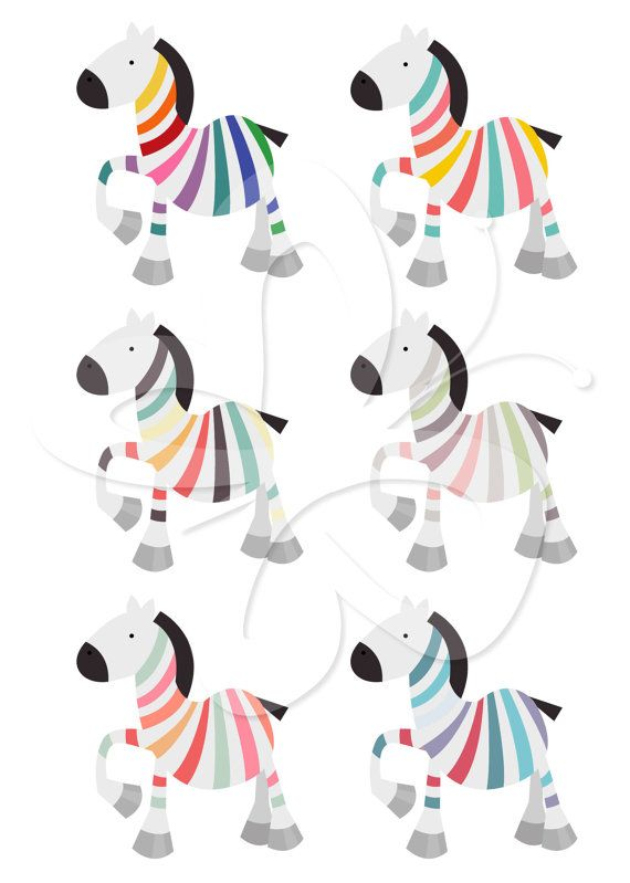 Rainbow Zebra Digital Clipart Set - Commercial and Personal use