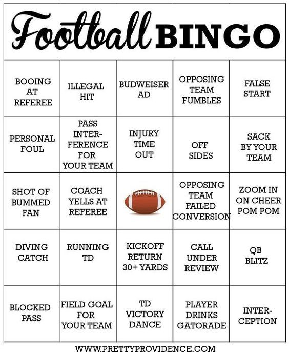 Free football bingo cards to print! Perfect for aSuper Bowl party, especially to keep it interesting for those of us who don't care that much about football!: