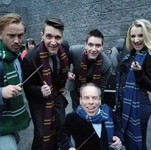 Tom Felton, James and Oliver Phelps, Evanna Lynch and Warwick Davis