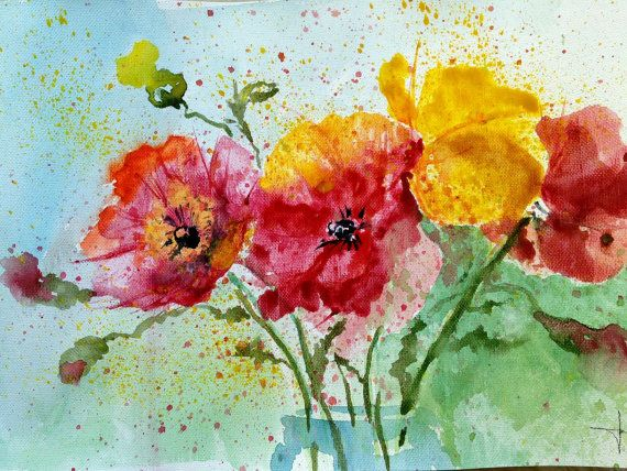 Original watercolor painting  Poppies by magicsmudges on Etsy, $70.00