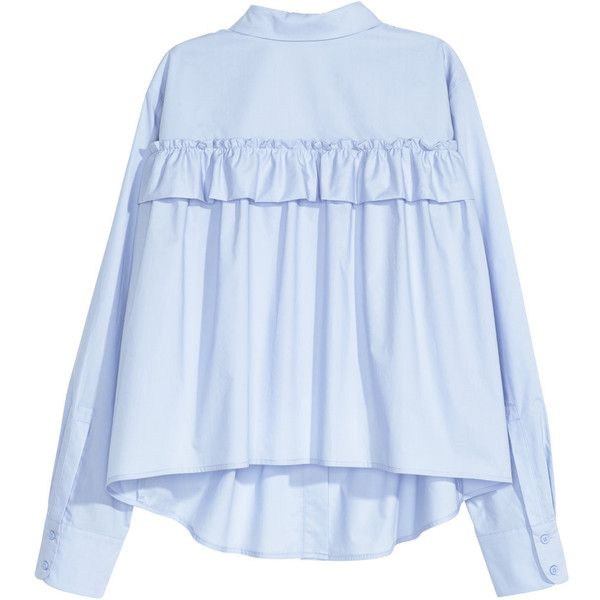 H&M Flared Ruffle Blouse $17.99 featuring polyvore women's fashion clothing tops blouses embellished blouse long sleeve blouse ruffle blouses embellished tops flutter-sleeve top
