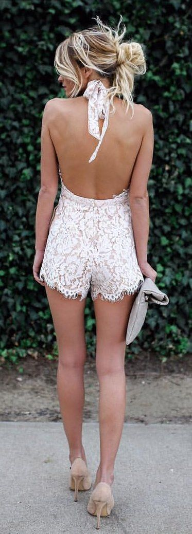 #summer #outfits  White Tatiana Halter Lace Romper + Nude Pumps