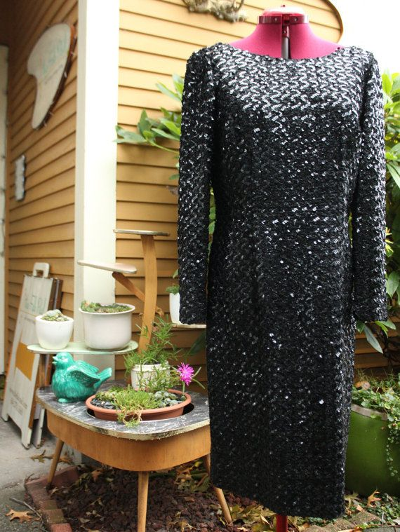 Black Sequinned Dress From Between 1956 and by LennysVintageVault