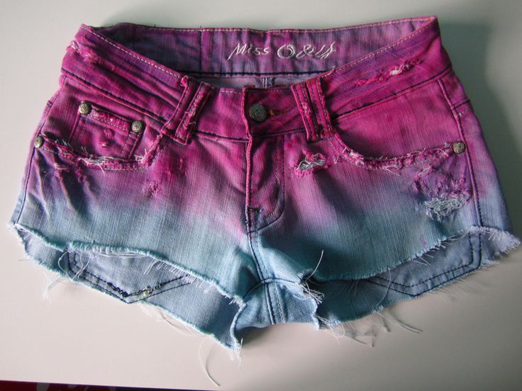 Dip dyed ombre shorts. Hand dyed and distressed.