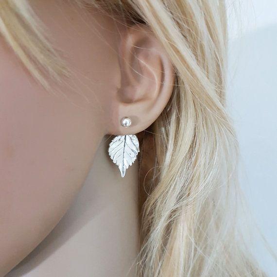 Blad oor jacket, grote blad oorbellen van ebben hout natuur geïnspireerde oorbellen, Double sided oorbellen