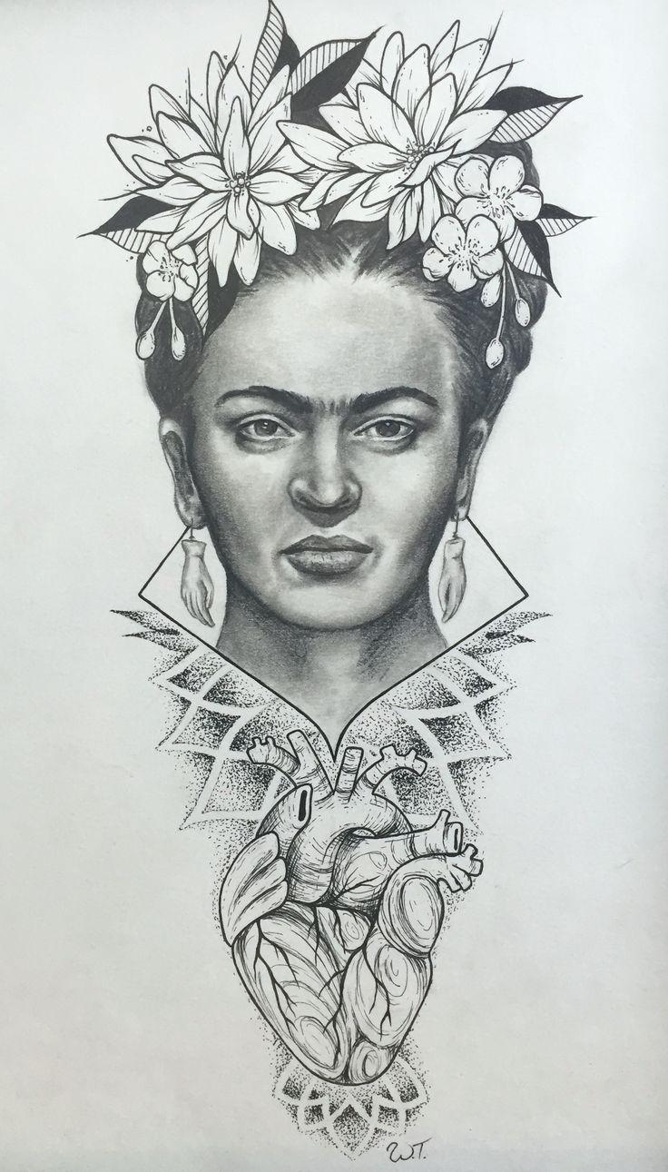 Original Drawing of Frida Kahlo by tattoo artist Whitney Thompson.
