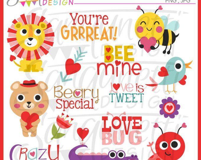 Valentine Clipart Love Clipart Valentines Day Clipart Etsy Valentine Clipart Valentine Paper Crafts Animal Valentine