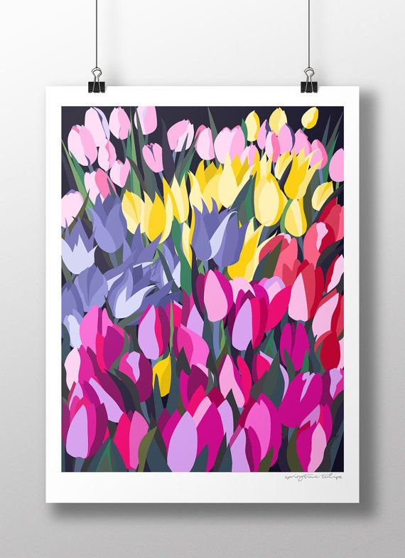 Spring Tulips Print by PoppyPrinting on Etsy