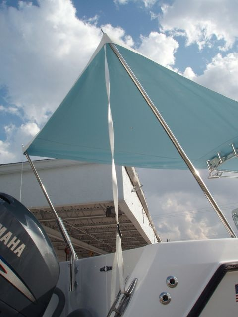 What do you use or have invented for sun shade when anchored (center console)