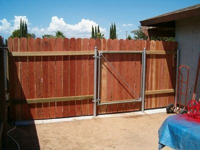 Wood Fence With Metal Post This Gate Is 48 Inches Wide X