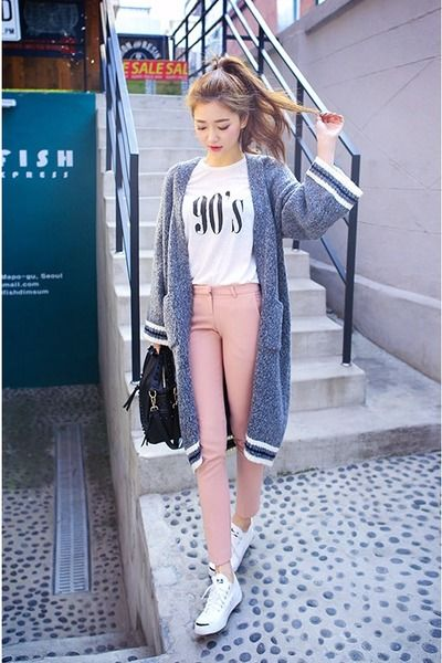 Contrast-Trim Long Cardigan (chuu)