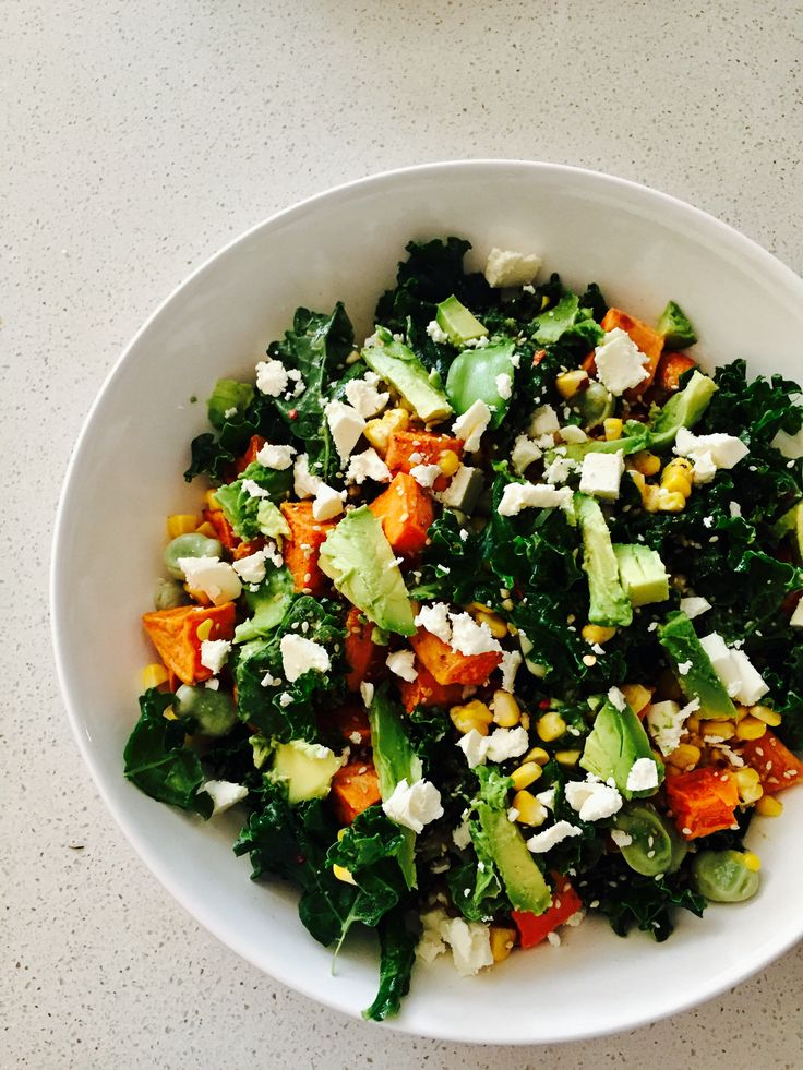 Superfood Salad  Kale, Avo, Sweet Potato, Corn - topped with Olive Oil, Feta, Chilli Flakes & Dukkah 😋  what more could you ask for???