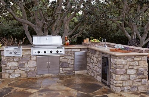 pictures of l shaped kitchens | EldoradoStone-L-shaped-Outdoor-Kitchen-finished