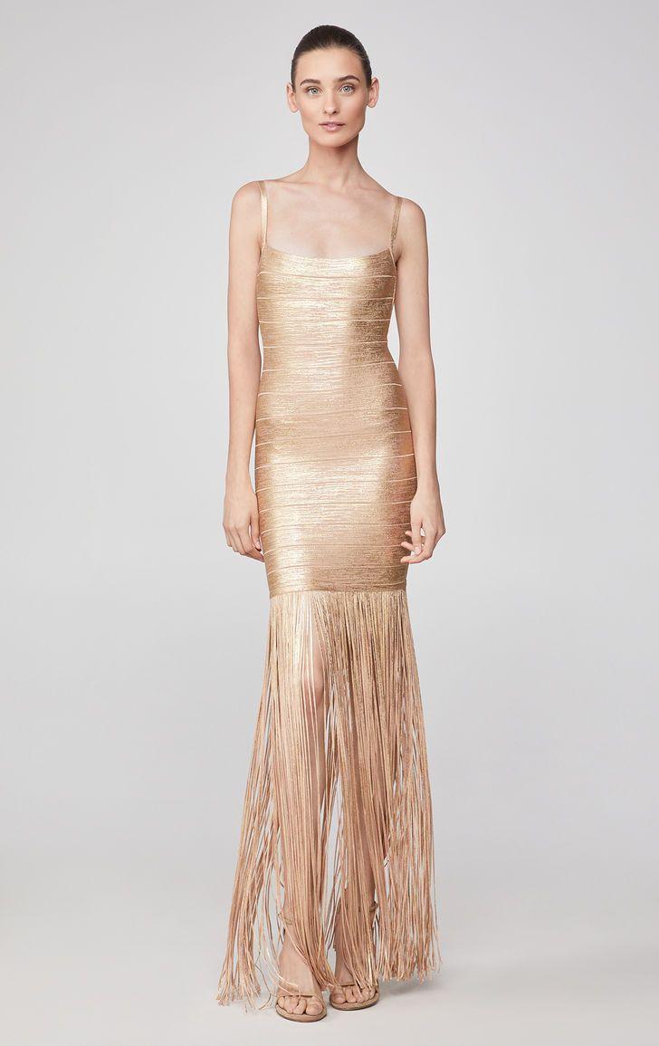 Woodgrain Foil Print Fringe Gown Dresses Herve Leger Wedding Guest Outfit Looks [ 1155 x 728 Pixel ]