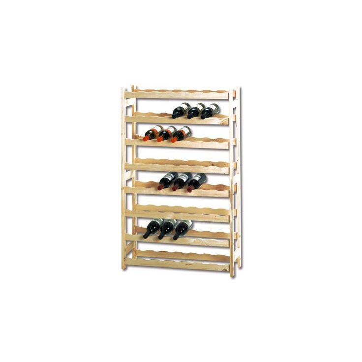 Vinställ Trä Enkelmonterat flaskställ i trä, lämplig för förvaring av upp till 56 flaskor. Skruvar för montering medföljer. Teknisk information Höjd: 120C