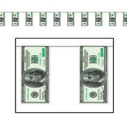Slinger papier Dollar -  Een slinger met dollar biljetten. Te gebruiken voor verschillende themafeesten, zoals Hollywood en USA feesten. Lengte: 360cm.  | www.feestartikelen.nl