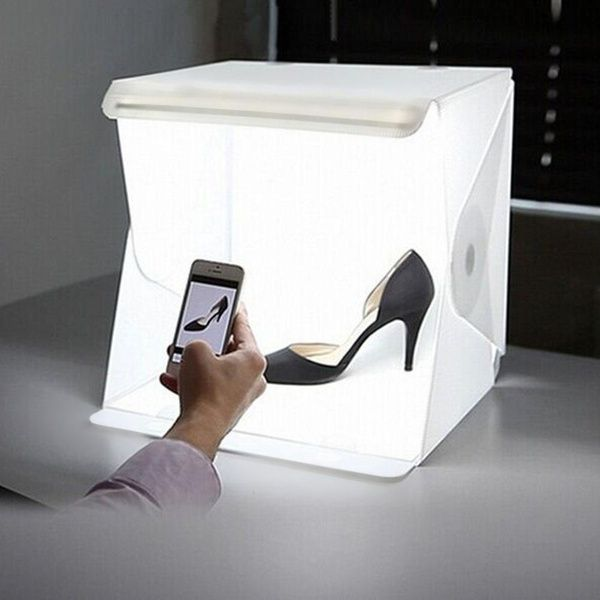 Wish | Folding Portable Lightbox Studio Take Pictures Like A Pro On The Go With A Smartphone or DSLR Camera (Color: White)