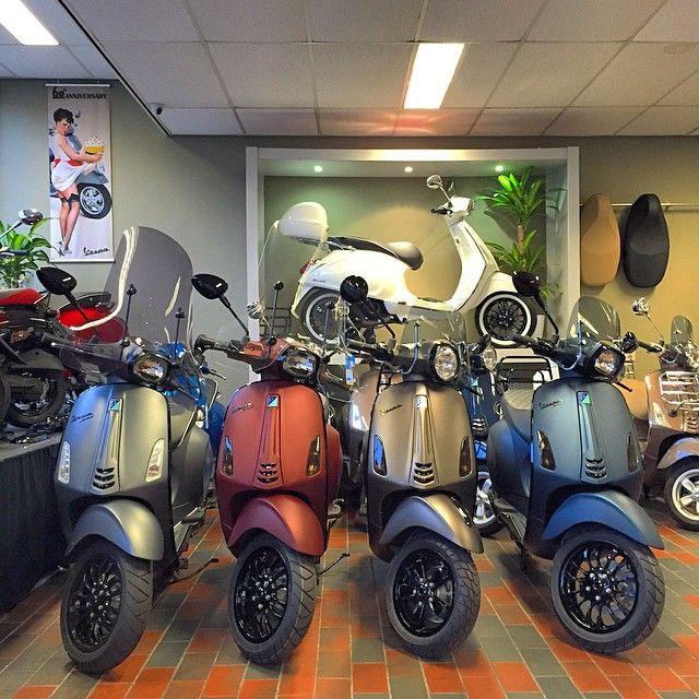 Vespa Customs 2014 - Matgrijs/Matrood/Matbruin/Matblauw. #piaggio #vespa…