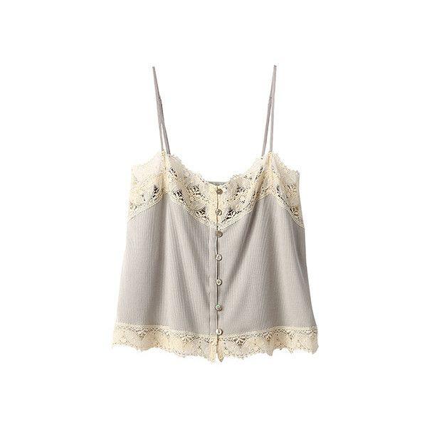 【ELLE SHOP】リブキャミソールライトグレー ビリティス・ディセッタン(Bilitis dix-sept ans) ファッション通販... ❤ liked on Polyvore