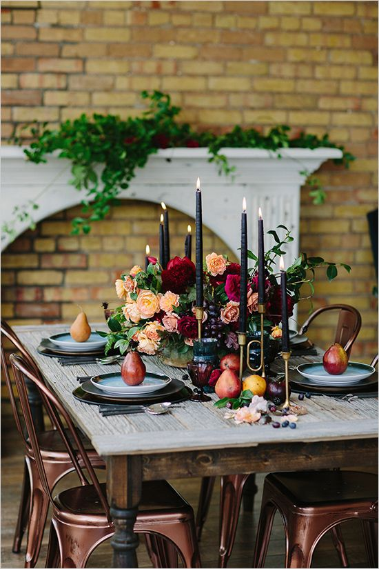 Romantic Vintage Table Setting. I really love the deep tones of this table setting.