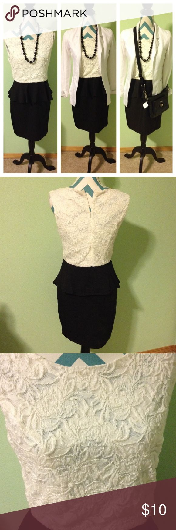 🍁BOGO 🍂 Cream and black peplum dress NWT Lacy cream top and black peplum skirt. One piece with a zipper in the back. Lace top has a lining but is still slightly see through. Brand new with tags! Blazer is for sale too! Bundle and save  Forever 21 Dresses