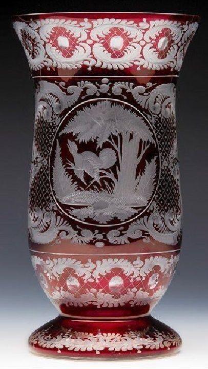 Antique Bohemian Glass Vase 19th20th Century Bohemian Glass