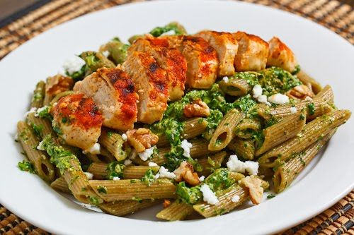Spinach Pesto Pasta with Paprika Grilled Chicken | Recipe