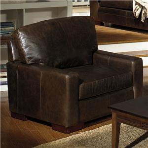 5925 Contemporary Leather Chair with Square Track Arms by USA Premium LeatherSitting Room