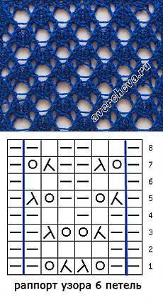 узор спицами 523 простой ажур с двойными накидами | каталог вязаных спицами узоров