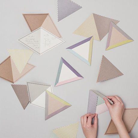 triangle invitations. folding system. geometry, pattern
