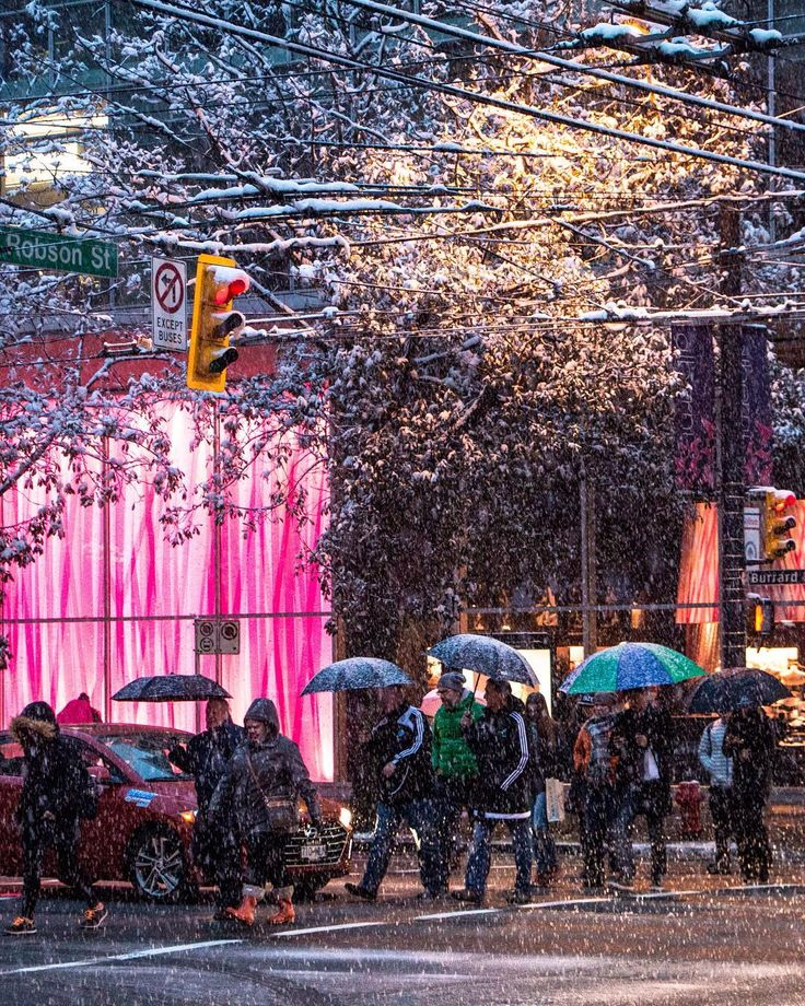 Snow More  . Vancouver received a second round of winter yesterday... snow in February  Captured yestereve just outside Victoria's Secret on the corner of @RobsonStreet & Burrard in Vancouver British Columbia Canada  February 3 2017