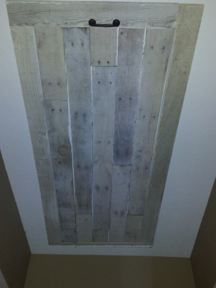 This Is Our New Attic Ladder Door That My Husband Made Out Of Pallet Wood.