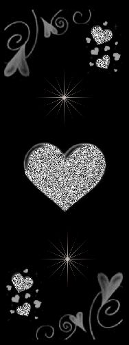 Sparkling Silver Heart on Black