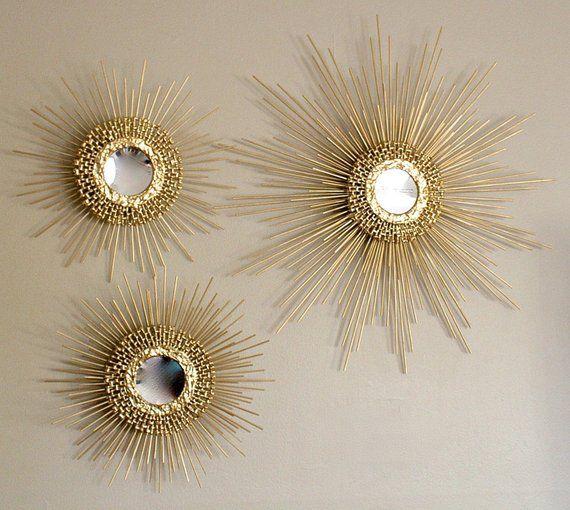 3Pc Round Sunburst bronze effet Décoratif Mural Art Déco Miroirs Vintage Home