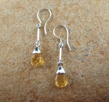 Citrine Earrings with Sterling Silver Caps