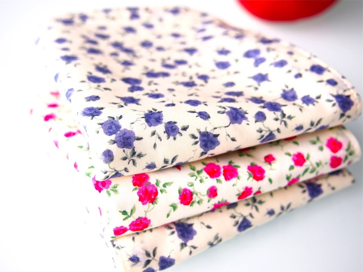 Set of 3 Face Washers / Handkerchiefs  - Liberty Roses Pink and Purple. $20.00, via Etsy.