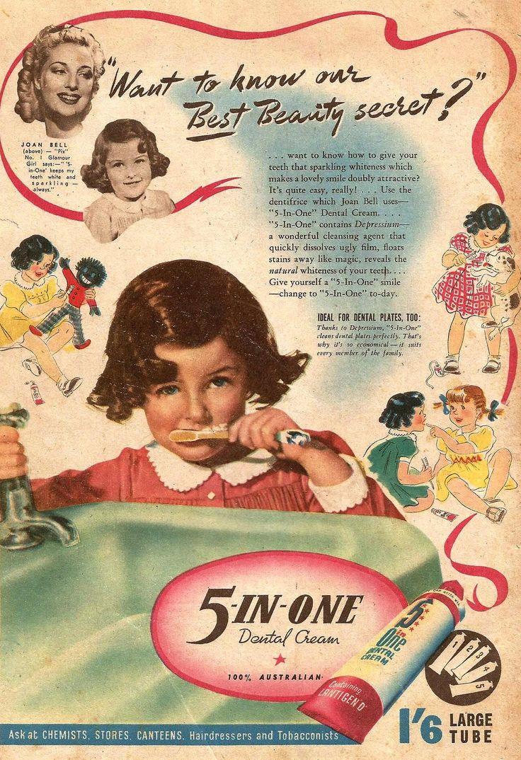 Vintage bathroom ads - 5 In 1 Dental Cream Ad