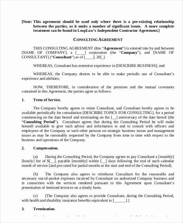 Short Consulting Agreement Template New 18 Consulting Agreement Forms Templates Agreement Contract Template