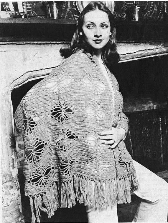 PDF Vintage Womens Ladies Crochet Pattern Shawl Stole Wrap