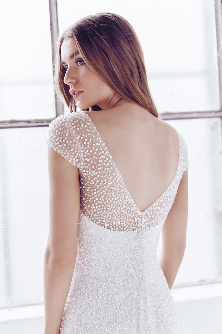 Low Back Wedding Dresses Sydney : Sydney sequin wedding dress vintage low back v