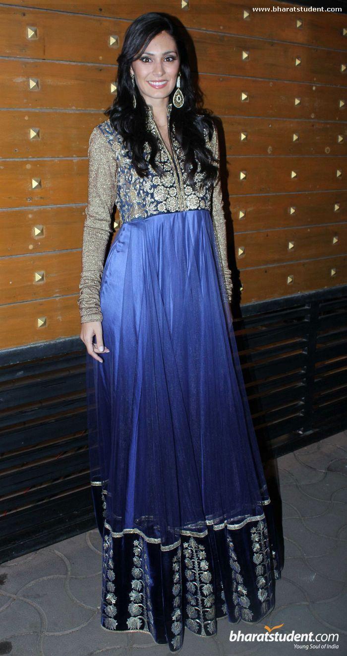 Bruna Abdullah in gold and blue anarkali
